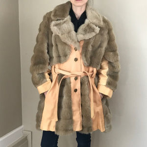 Vintage 70's Faux Fur and Faux Leather Trench Coat
